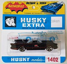 Hot Wheels Batman BATMOBILE Car in Repro. CORGI Juniors HUSKY 1402 Blister Pack