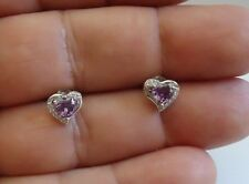 925 STERLING SILVER HEART SHAPE STUD EARRINGS W/ 1.10 CT AMETHYST & ACCENTS