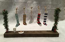 Metal & Wood Christmas Stockings hanging on a line Mantel Decoration Retro