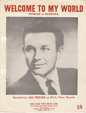 Welcome To My World - Jim Reeves - 1962 Sheet Music