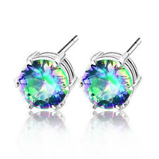 2017 Newest Jewelry Colored Mystic Topaz Gemstone Silver Stud-Earrings 3/8 Inch