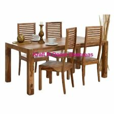 KraftNDecor Contemporary Wooden Dining Table with 4 Chair Set in Brown Colour