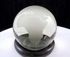 "AROUND THE WORLD CRYSTAL CLEAR & FROSTED GLOBE 3"" PAPERWEIGHT & WOODEN RING BASE"