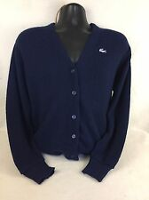 VTG Izod Lacoste Navy Cardigan Sweater Mens Medium Acrylic