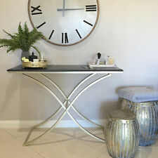 Black Console Table/New York Chic Design/Metal Legs/Hall Table/Bedroom Table
