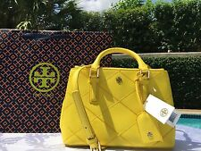 TORY BURCH ROBINSON STITCHED MICRO DOUBLE ZIP SUNSHINE YELLOW NWT $450 &GIFT BAG