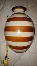 Brown striped Pottery 12 inch Vase by Segundo Caryen # 200 Hand Made In Peru