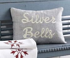 SILVER BELLS PILLOW : CHRISTMAS HOLIDAY SAYING GREY TOSS CUSHION