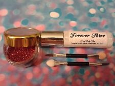 Red Lip & eye glitter make up set incl. glitter, brush and body glue