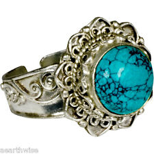 TURQUOISE RING ADJUSTABLE Wicca Witch Pagan Goth TIBETAN SILVER