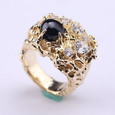 (sz 9 or 11, 1 oz)   HE TOUCHED ME,  ELVIS TRIBUTE Stunning bold BLACK SAPPHIRE