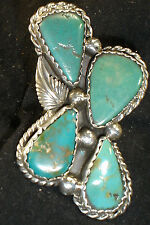 HUGE NAVAJO STERLING SILVER GRN TURQUOISE RING SZ 9.5 NATIVE AMERICAN DEAD PAWN