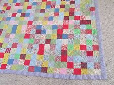 "Quilt Vintage Patchwork Hand Made Colorful 78"" X 88"" Purple Backed Free Ship USA"