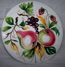 PEDESTAL CAKE Plate Serving STAND Hand Painted FRUIT Made in ITALY 12 x 3.5""