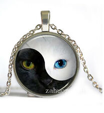 Vintage Yin yang Cat Cabochon Silver plated Glass Chain Pendant Necklace