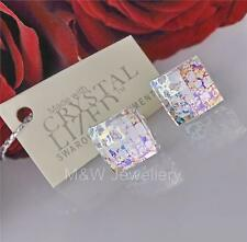 STUDS EARRINGS SWAROVSKI ELEMENTS CHESSBOARD WHITE PATINA STERLING SILVER 925