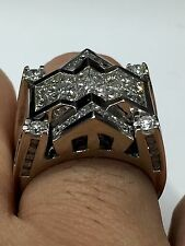 3.85 Ct F Vs1 Men's Diamond Ring princess Cut 14k White Gold