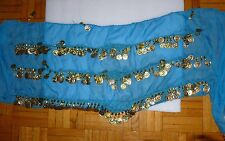 Dark Turquoise Egyptian Hip scarf with coins  middle eastern belly dance women