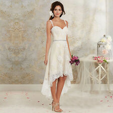 Bohemian High Low Short Wedding Dresses 2016 Summer Lace Bridal Gowns with Belt