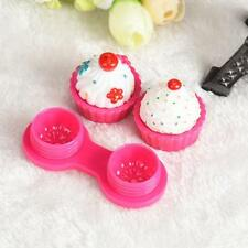 Cute Cartoon Cake Ice Cream Shape Contact Lens Case Box Set Holder Hot Pink S2