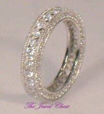 2.50 Ct Round cut Estate Diamond Pave setting White Gold Ring Eternity Band