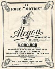 W7441 Bicicletta a motore ALCYON - Vince il Bol d'Or - Pubblicità del 1926 - Ad