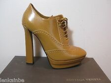 Bottega Veneta Kari Brown Oxford Lace Up Booties Boots $950 39.5 9.5