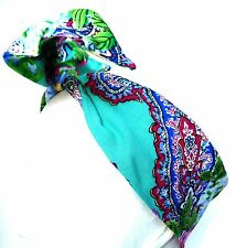 BEAUTIFUL TURQOISE, BLUE, GREEN AND PINK SILK BANDANA WITH MODELING WIRE