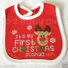 Personalised Baby/Todder Christmas Bib - Rudolf design - Any name Embroidered