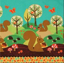 Michael Miller Nuts For Dinner Fabric.Childrens,fun.woodland.By the Fat Quarter