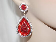 RED,RUBY & CLEAR RHINESTONE CRYSTAL TEARDROP GOLD EARRINGS