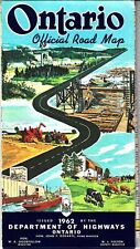 Ontario Canada Official Road Map 1962 Department of Highways Vintage Map