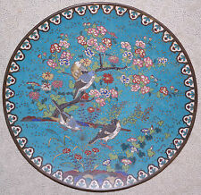 Chinese Cloisonne Enamel on Copper Floral & Birds Motif Charger 1920s