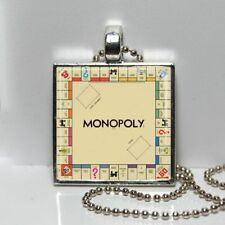 VINTAGE MONOPOLY BOARD GAME NECKLACE CHARM PENDANT Silver Plated Collector Gift