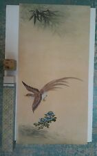 Vintage Japanese Chinese Orientalia Original Painting Scroll Pheasant Flowers B