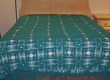 Antique Hand made Crochet Bed Bedspread Cover Teal fits Queen