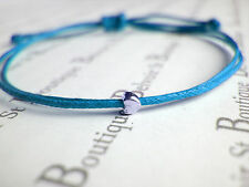 tiny silver heart charm blue wax cord string adjustable friendship bracelet gift