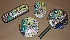"1900 Enamel/Pewter Jauntily Painted 4-piece Dresser Set/""Crinoline Lady"""