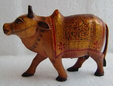 """WOODEN ANTIQUE RARE INDIAN HAND CARVED PAINTED HOLY NANDI """"BULL"""" COW  FIGURINE"""