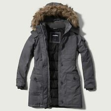 NWT Abercrombie Hollister Women Arctic Parka Hooded Winter Jacket Coat- Grey - S