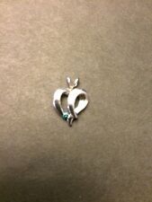 Estate 14K White Gold Blue Diamond Heart Pendant