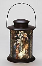"Roman 12"" LED HOLY FAMILY NATIVITY Cylinder LANTERN Stained Glass Style 164092"