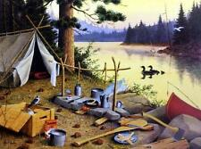 Les Kouba Camp Visitors Loon Campfire Art Print  Signed and Numbered