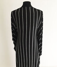 Black and White Striped Stretch Viscose Jersey Dressmaking Fabric
