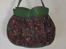 JAMIN PUECH Green Gold Brown Sequin Beaded Leather & Rayon Handbag Bag Purse