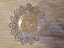 VINTAGE CLEAR IRIDESCENT GLASS FLOWER SHAPED SERVING BOWL