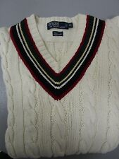Polo by Ralph Lauren Hand Knit Cable Knit V-Neck Tennis/Cricket Sweater Size XL