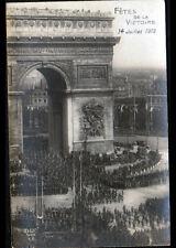PARIS : Défilé MILITAIRE à l'ARC DE TRIOMPHE / FETE DE LA VICTOIRE en 1919