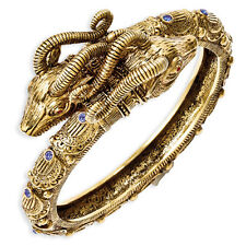 Jacqueline Kennedy 24K Gold Finish Blue Crystal Ram's Head Wrist Bangle 8""