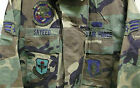 USAF WOODLAND CAMO BDU SHIRT W PATCHES 97TH SERVICES SQUADRON AMW MEDIUM LONG